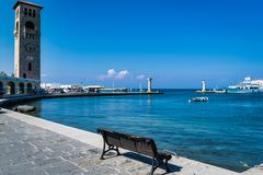 A Bench on Rhodes Habor stock image