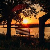 Bench by the River. stock photography