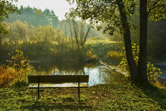 Bench and river in park Royalty Free Stock Photos