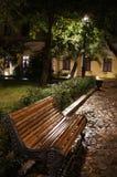 Bench a rua da noite da chuva, luz na folha imagem de stock