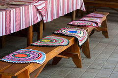 Bench with rugs ready for dinner Stock Photos