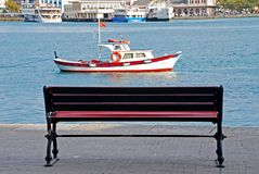 Bench by sea. A wooden bench by sea in Istanbul Stock Images