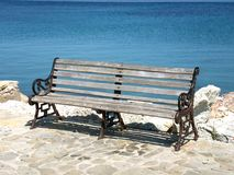 Bench by the sea. Bench by the Ionian sea in Greece - Peloponnese Stock Photography