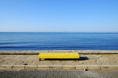 Bench on sea background Stock Photography