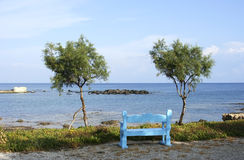 Bench and sea Stock Image