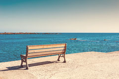Bench on the sea coast Royalty Free Stock Image