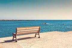 Bench on the sea coast Royalty Free Stock Image