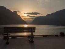 Sea pier in fjords in Norway stock photo