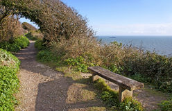 Bench by the sea on White Cliffs of Dover. Stock Images