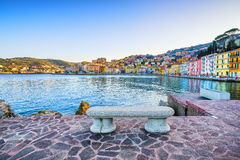 Bench on seafront in Porto Santo Stefano, Argentario, Tuscany, I Royalty Free Stock Photo