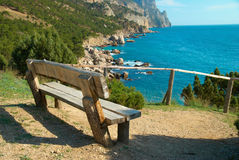 Bench with seaside view Royalty Free Stock Photos