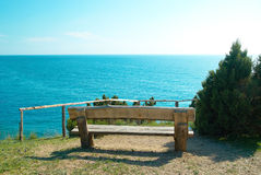 Bench with seaside view Royalty Free Stock Photo