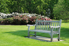 Bench seat in an english park in early Spring Stock Photography