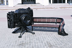 Bench in the shape of the retro camera Stock Photo