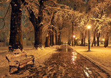 Bench and shining lantern through snowing Royalty Free Stock Image