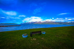 Bench by shore
