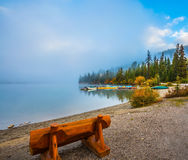 Bench on the shore of Pyramid Lake Stock Image