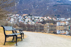 Bench on the shore Store Lungegardsvannet, Bergen, stock photography