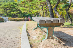 bench with sidewalk Royalty Free Stock Photography