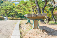 bench with sidewalk Royalty Free Stock Photos