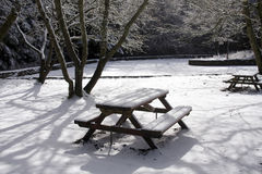 A bench in the snow Royalty Free Stock Photography