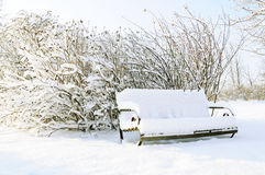 Bench in snow Stock Photography