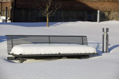 Bench In Snow Stock Image