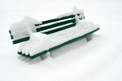 Bench in snow Stock Photos