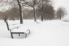 Bench in the snow Royalty Free Stock Photo