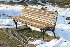 Bench in snow Royalty Free Stock Photography
