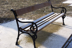 Bench with snow Royalty Free Stock Photos