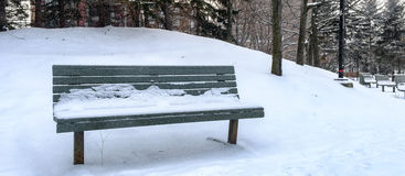 Bench on a snowy day Royalty Free Stock Photography
