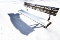 Bench on snowy winter day 122 Stock Photos