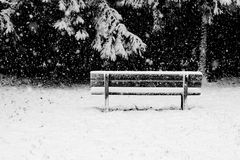 A bench: solitude in the snow storm Royalty Free Stock Photos