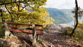 A bench at Sooneck Castle. Sooneck Castle is a castle in the upper middle valley of the Rhine, Germany. It is located near the village of Niederheimbach. Sooneck Stock Photo