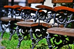 Bench in Sopron. Line of benches in Sopron, Hungary Stock Image