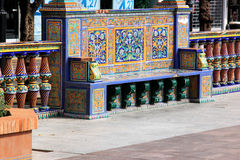 Bench with Spanish azulejos in Algeciras, Spain Stock Image