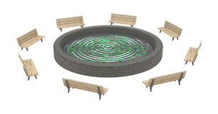 Bench Spot Ripple. Wooden park bench 3d, over white, isolated Stock Photos
