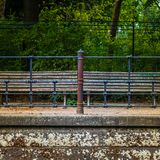 Bench on the Spree river in Berlin royalty free stock photo