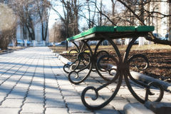 Bench in spring park Royalty Free Stock Photography