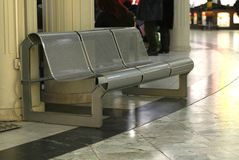 Bench of steel. A bench of steel on an airport stock photo