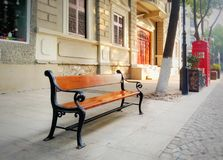 Bench on the street Royalty Free Stock Image