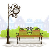 Bench, street clock, old town Stock Photos