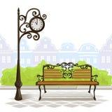 Bench, street clock, old town Stock Photos