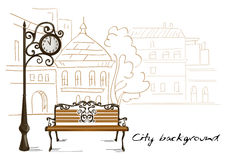 Bench, street clocks, background line drawing city Royalty Free Stock Photos