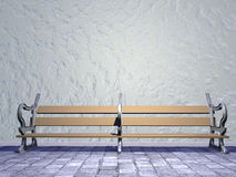 Bench in the street - 3D render. Single vintage wooden bench in the street Royalty Free Stock Photography