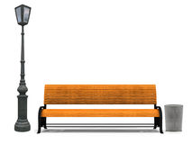 Bench and street lamp. Illustration of 3d yellow park bench and street lamp on white background Stock Image