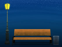 Bench and street lamp at night. Illustration of 3d yellow park bench and street lamp at night background Stock Photo