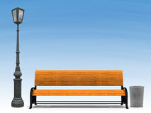 Bench and street lamp over blue sky. Illustration of 3d yellow park bench and street lamp over blue sky background Royalty Free Stock Photo