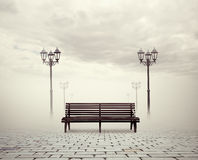 Bench and street lamps Royalty Free Stock Photos